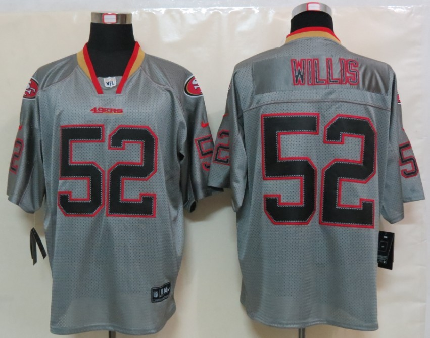 New Nike San Francisco 49ers 52 Willis Lights Out Grey Elite Jersey