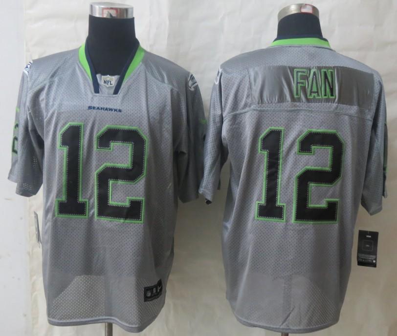 New Nike Seattle Seahawks 12 Fan Lights Out Grey Elite Jerseys