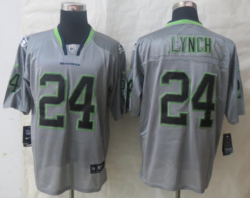New Nike Seattle Seahawks 24 Lynch Lights Out Grey Elite Jersey