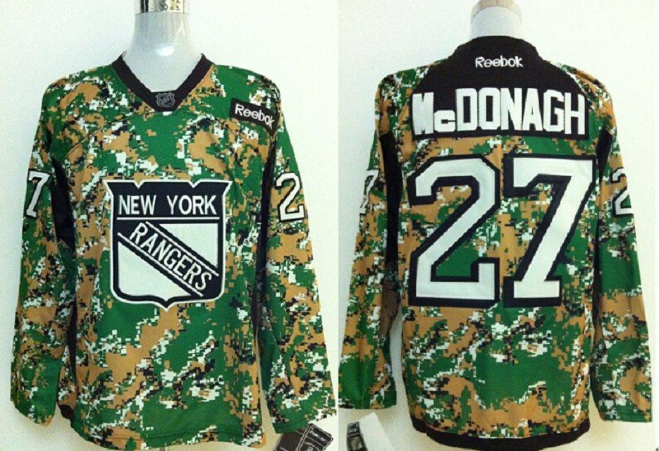 NHL New York Rangers 27 McDonagh green camo Jersey