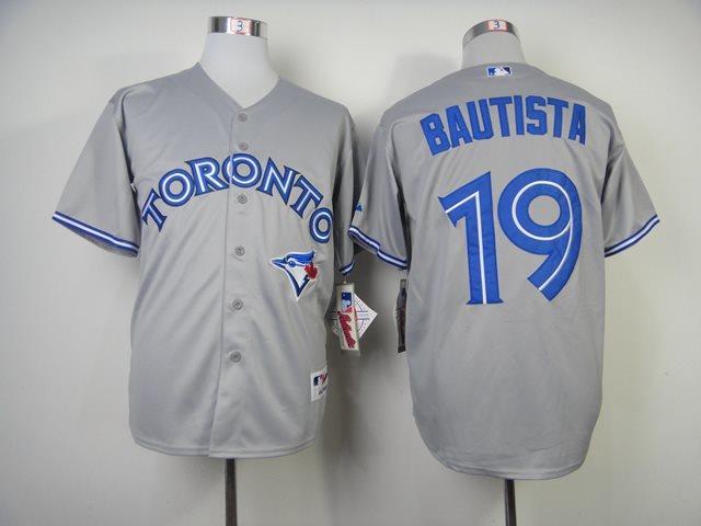 MLB Toronto Blue Jays 19 Bautista grey Baseball Jersey
