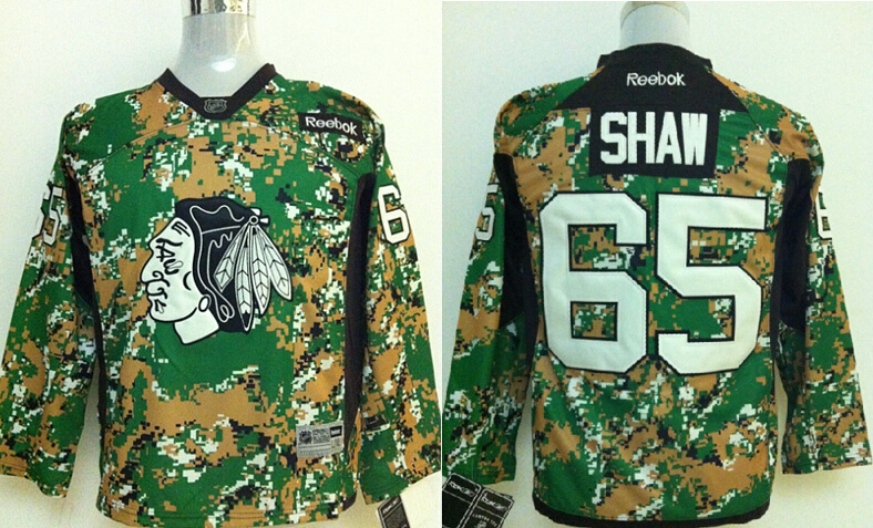 Youth NHL Chicago Blackhawks 65 Andrew Shaw Green Camo Jerseys
