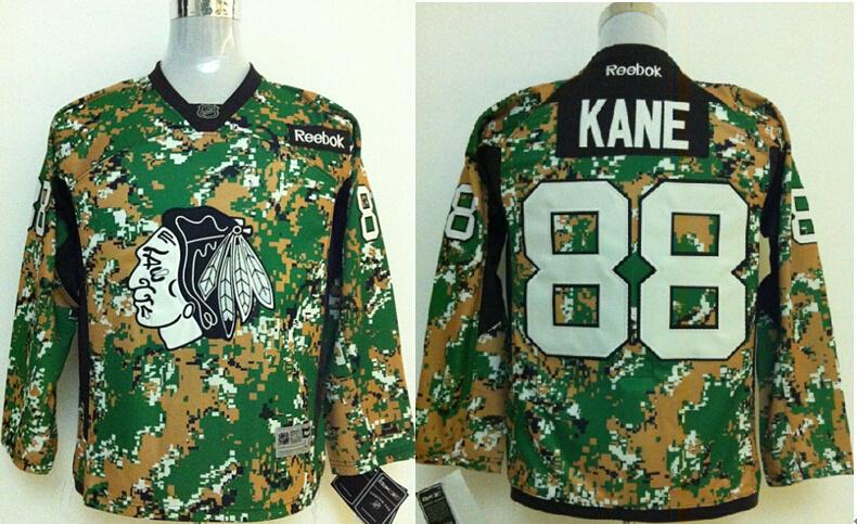Youth NHL Chicago Blackhawks 88 Patrick Kane Green Camo Jerseys