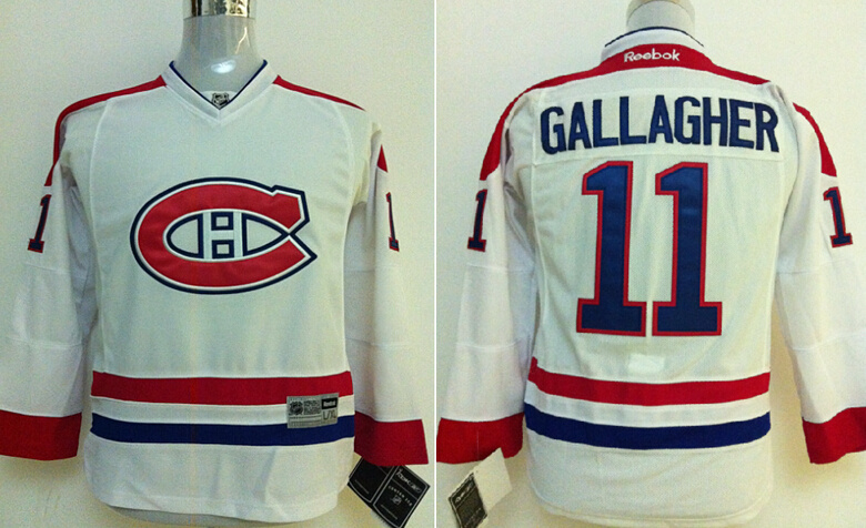 Youth NHL Montreal Canadiens 11 Brendan Callagher White Jersey
