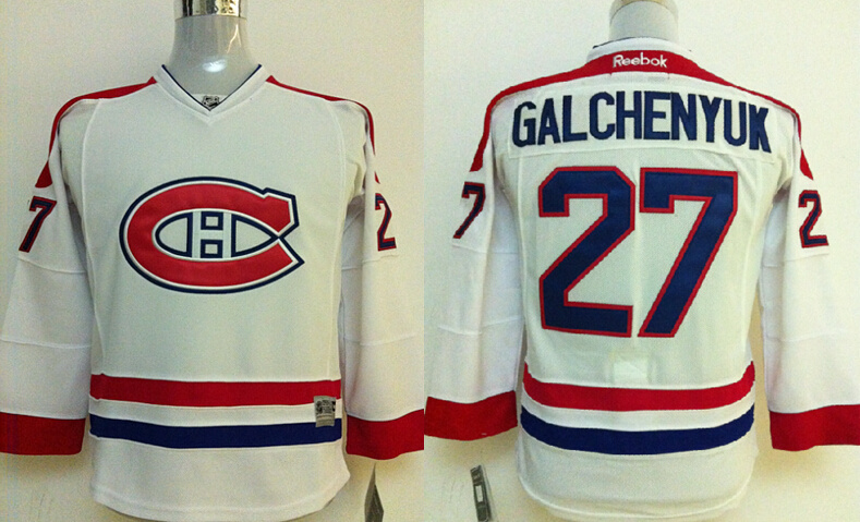 Youth NHL Montreal Canadiens 27 Galchenyuk White Jerseys