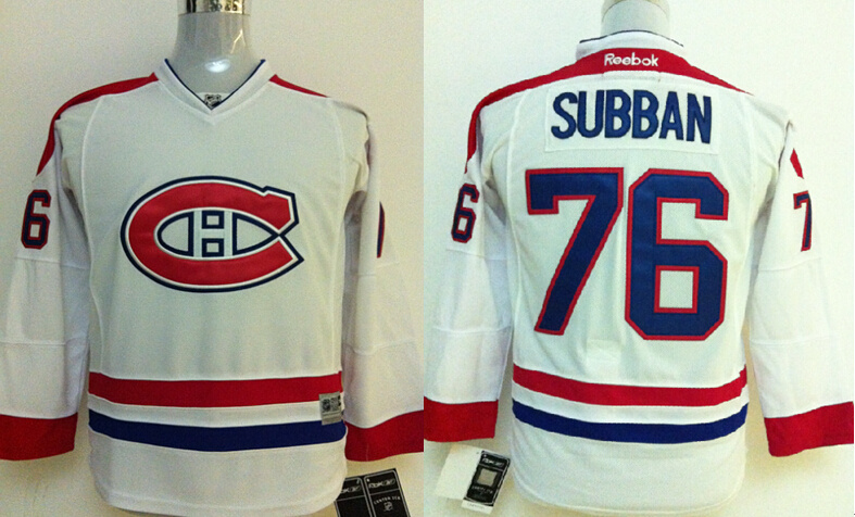 Youth NHL Montreal Canadiens 76 P.K. Subban White Jerseys