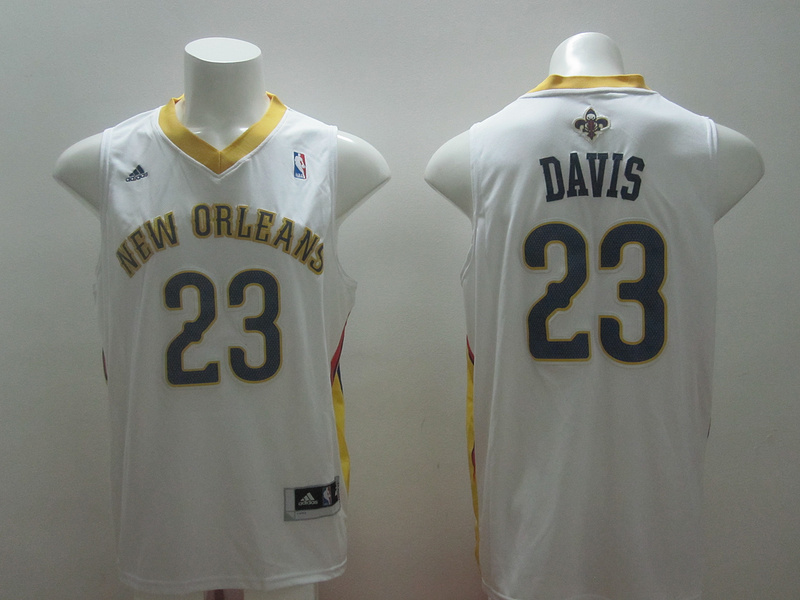 NBA New Orleans Pelicans 23 Anthony Davis new revolution 30 white jersey