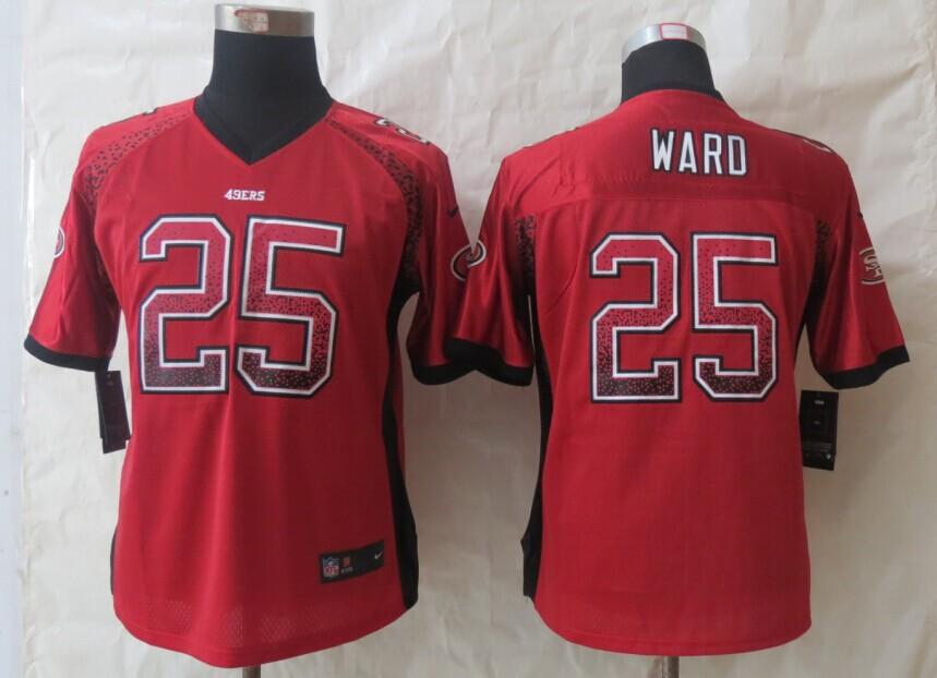 Womens San Francisco 49ers 25 Ward Drift Fashion Red New Nike Elite Jerseys