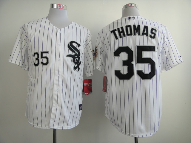 MLB Chicago White Sox 35 Frank Thomas 75th White 2014 Hall Of Fame Inductee Home Jersey