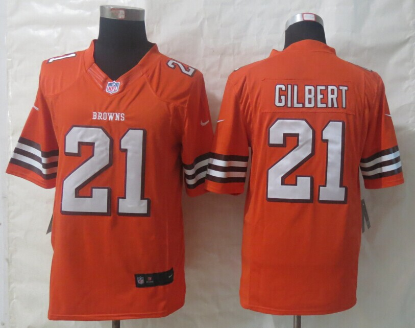 Cleveland Browns 21 Gilbert Orange New Nike Limited Jerseys