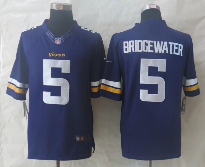 Minnesota Vikings 5 Bridgewater Purple New Nike Limited Jerseys
