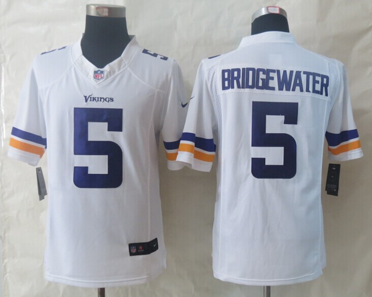 Minnesota Vikings 5 Bridgewater White New Nike Limited Jerseys