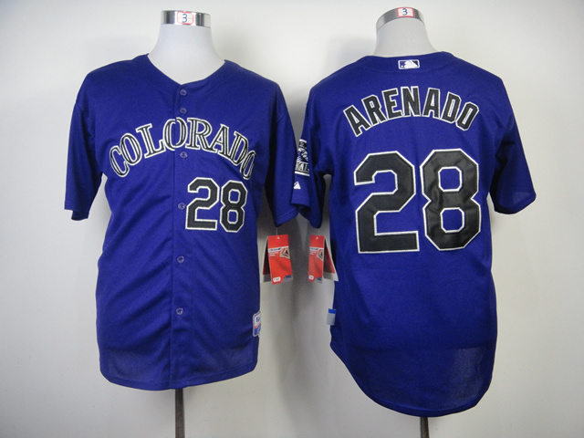 MLB Colorado Rockies 28 Arenado Purple 2014 Jerseys