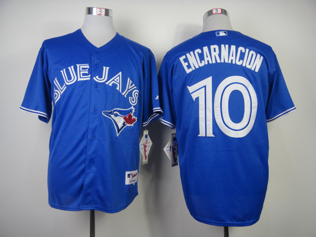MLB Toronto Blue Jays 10 Edwin Encarnacion Blue 2014 Jerseys