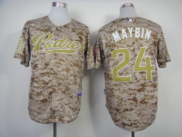 MLB San Diego Padres 24 Maybin Camo 2014 Jerseys