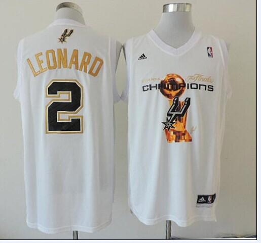 NBA San Antonio Spurs adidas 2 Leonard White 2014 Championship Jerseys