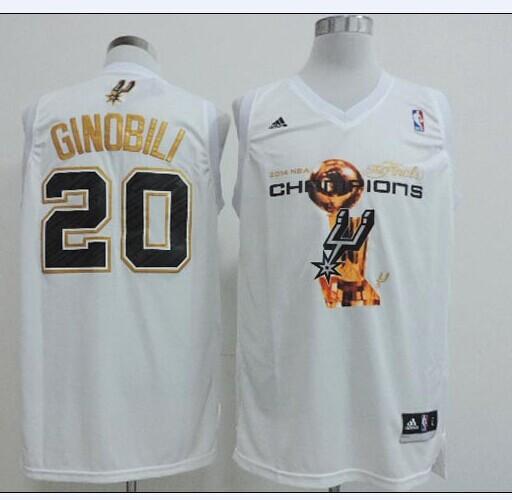 NBA San Antonio Spurs adidas 20 Ginobili White 2014 Championship Jerseys