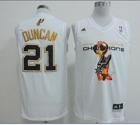 NBA San Antonio Spurs adidas 21 Duncan White 2014 Championship Jerseys