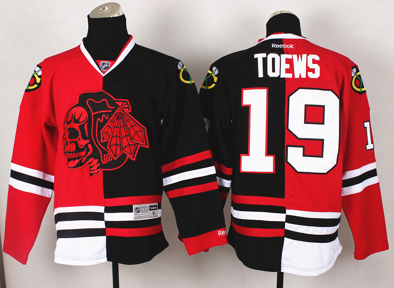 NHL Chicago Blackhawks 19 Toews Red Black1 Split 2014 Jersey