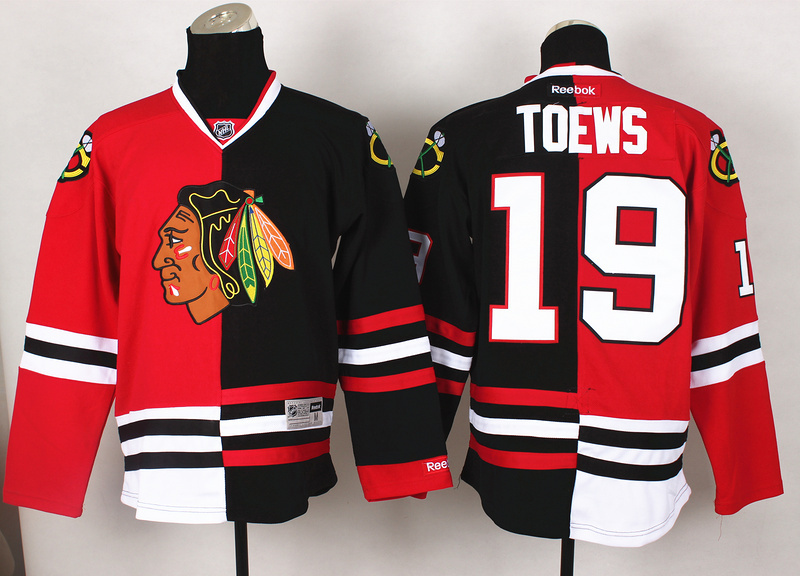 NHL Chicago Blackhawks 19 Toews Red Black2 Split 2014 Jersey