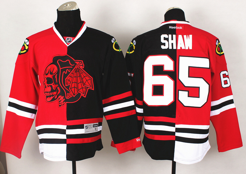 NHL Chicago Blackhawks 65 Shaw Red Black1 Split 2014 Jersey