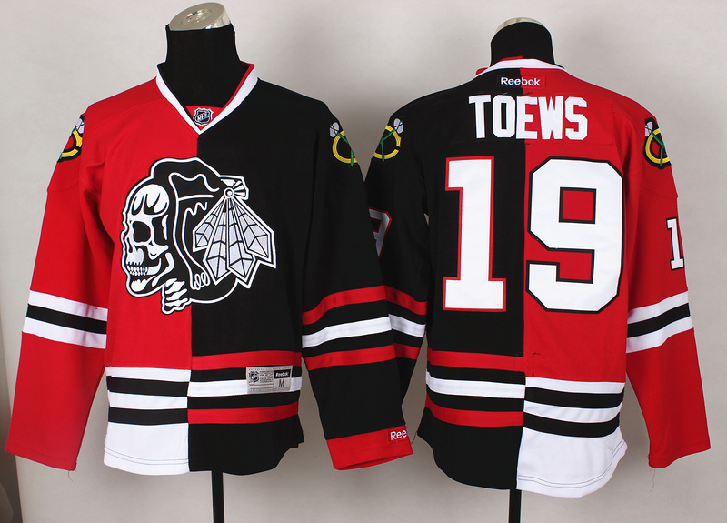 NHL Chicago Blackhawks 19 Toews Red Black Split 2014 Jersey