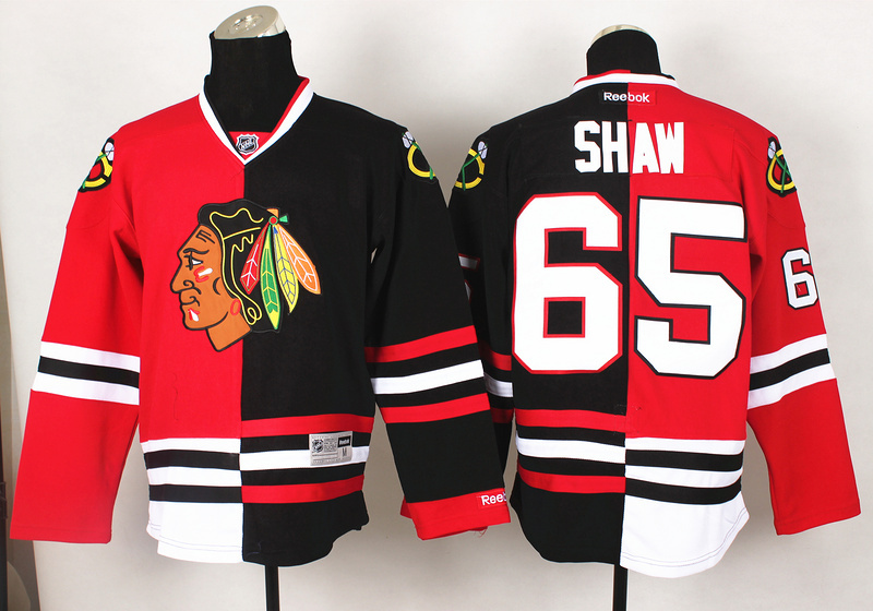 NHL Chicago Blackhawks 65 Shaw Red Black2 Split 2014 Jersey