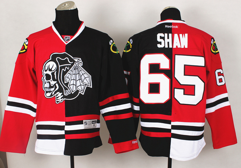 NHL Chicago Blackhawks 65 Shaw Red Black Split 2014 Jersey