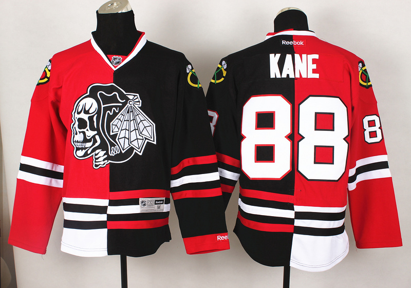 NHL Chicago Blackhawks 88 Kane Red Black2 Split 2014 Jersey