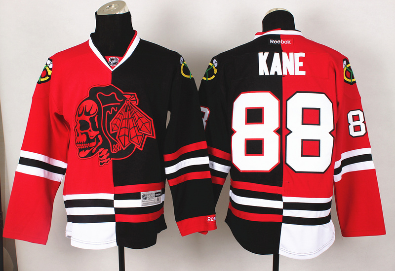 NHL Chicago Blackhawks 88 Kane Red Black Split 2014 Jersey