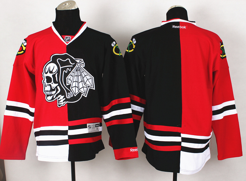NHL Chicago Blackhawks Blank Red Black1 Split 2014 Jersey