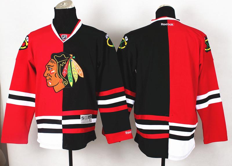 NHL Chicago Blackhawks Blank Red Black2 Split 2014 Jersey