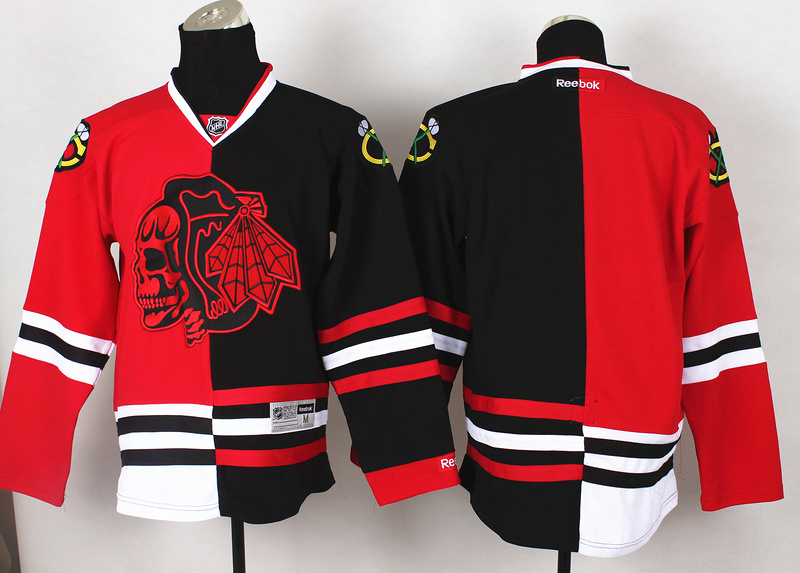 NHL Chicago Blackhawks Blank Red Black Split 2014 Jersey