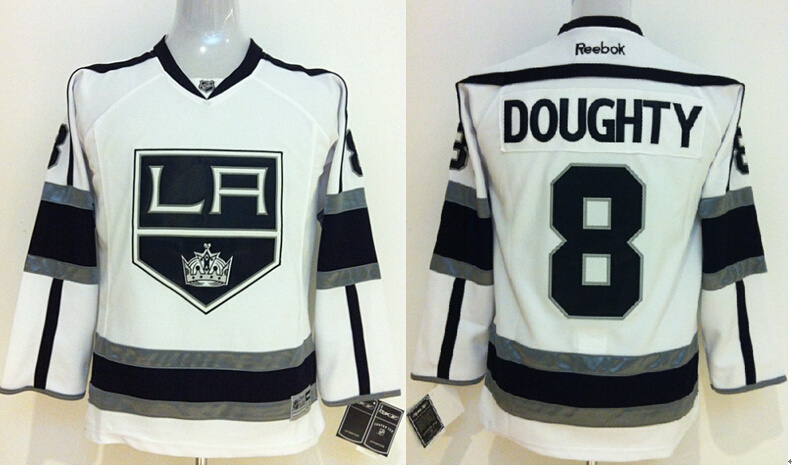 Youth NHL Los Angeles Kings 8 Drew doughty White Jerseys