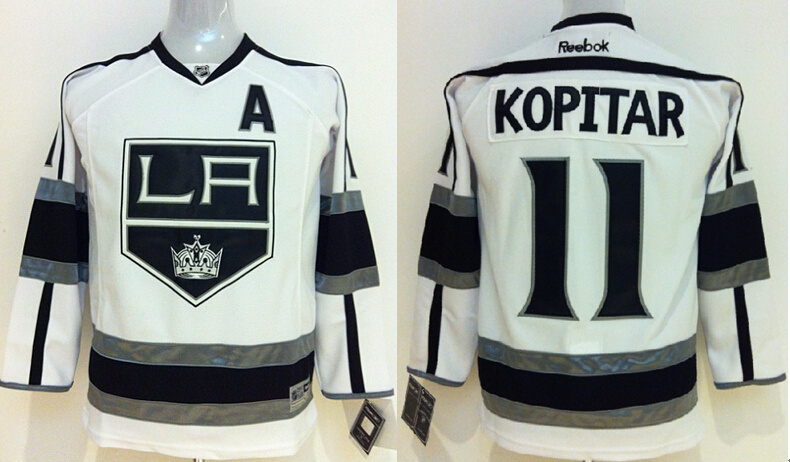 Youth NHL Los Angeles Kings 11 Kopitar White Jerseys