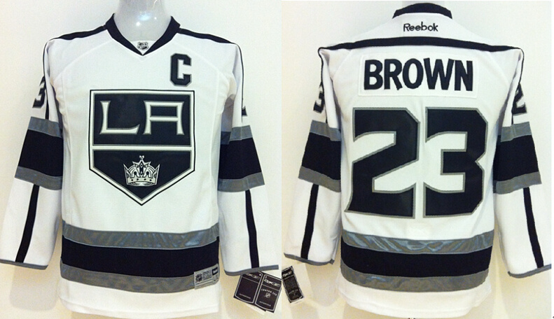 Youth NHL Los Angeles Kings 23 Dustin Brown White Jerseys