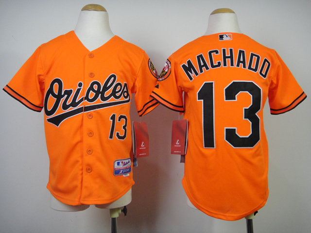 Youth MLB Baltimore Orioles 13 Machado Orange 2014 Jerseys