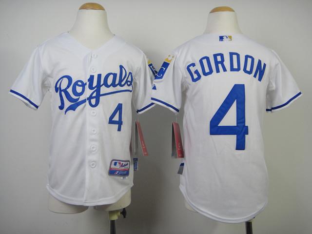 Youth MLB Kansas City Royals 4 Gordon White 2014 Jerseys