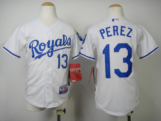 Youth MLB Kansas City Royals 13 Perez White 2014 Jerseys
