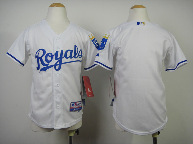 Youth MLB Kansas City Royals Blank White 2014 Jerseys