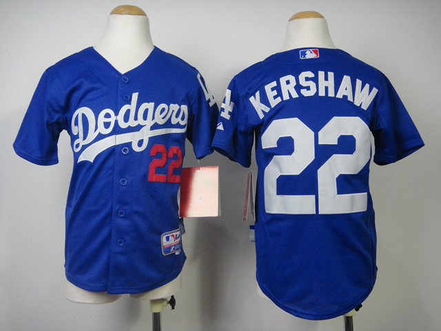 Youth MLB Los Angeles Dodgers 22 Kershaw Blue 2014 Jerseys