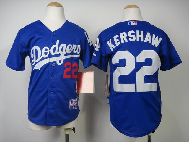 Youth MLB Los Angeles Dodgers 22 Kershaw Blue 2014 Jerseys