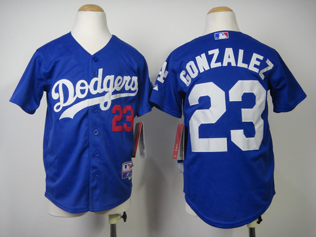 Youth MLB Los Angeles Dodgers 23 Gonzalez Blue 2014 Jerseys