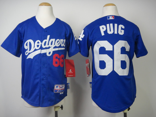 Youth MLB Los Angeles Dodgers 66 Puig Blue 2014 Jerseys