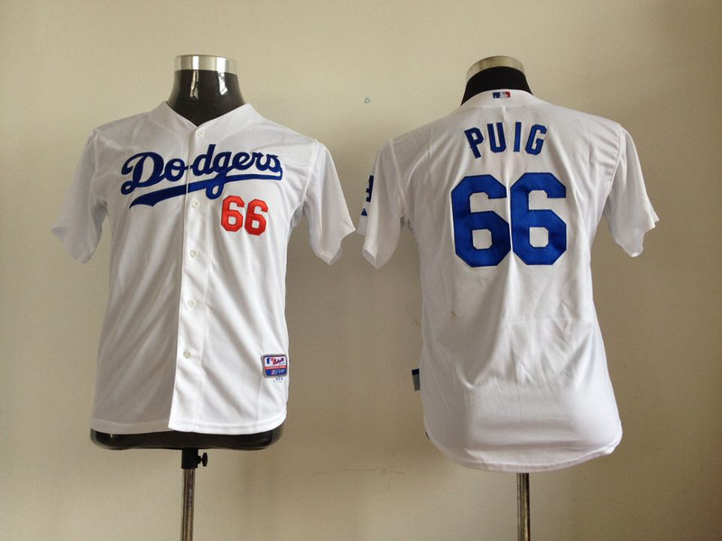 Youth MLB Los Angeles Dodgers 66 Puig White 2014 Jerseys