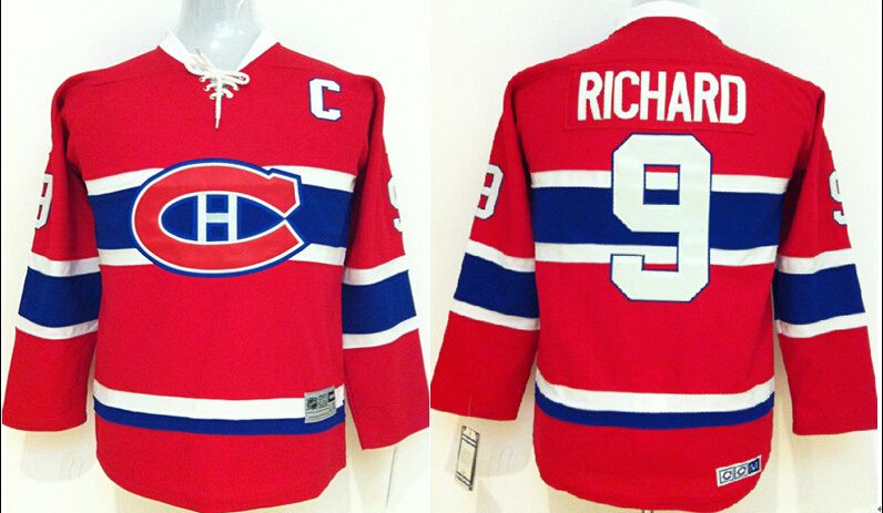 Youth NHL Montreal Canadiens 9 Maurice Richard Red Jerseys