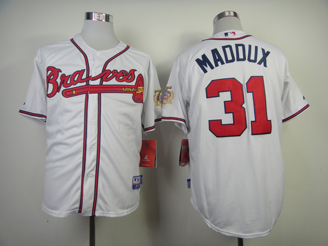 MLB Atlanta Braves 31 Greg Maddux White Throwback Jerseys