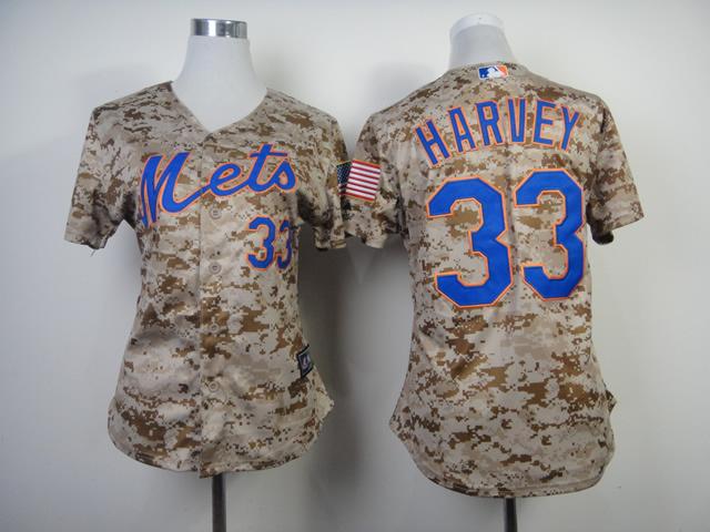 Womens MLB New York Mets 33 Harvey Camo 2014 Jerseys