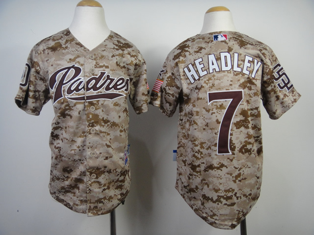 Youth MLB San Diego Padres 7 Chase Headley Camo 2014 Jerseys