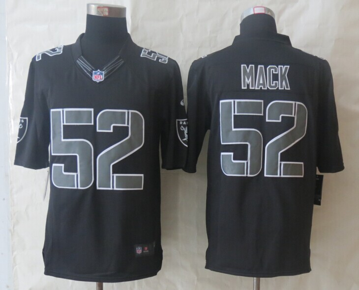 Oakland Raiders 52 Mack New Nike Impact Limited Black Jerseys